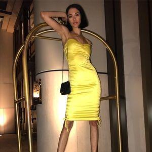 NBD yellow satin dress